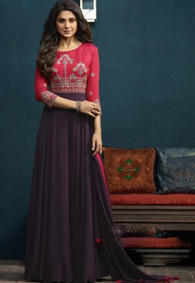 Jennifer Winget Mauve and Pink Silk Georgette Anarkali Suit 5016