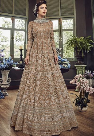 Beige Net Embroidered Long Designer Anarkali Suit 5810D