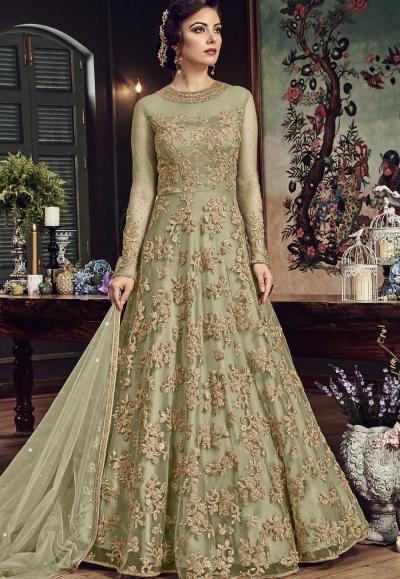 Light Green Net Embroidered Floor Length Anarkali Suit 5807B