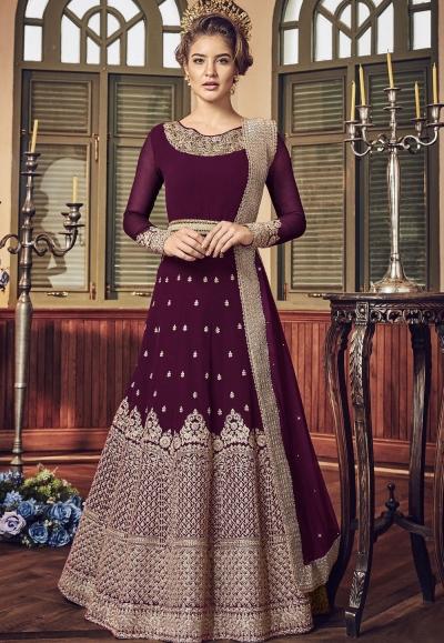 Purple Georgette Floor Length Designer Anarkali Suit 5801F