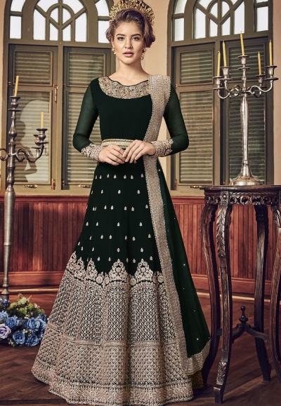 Dark Green Georgette Floor Length Designer Anarkali Suit 5801E
