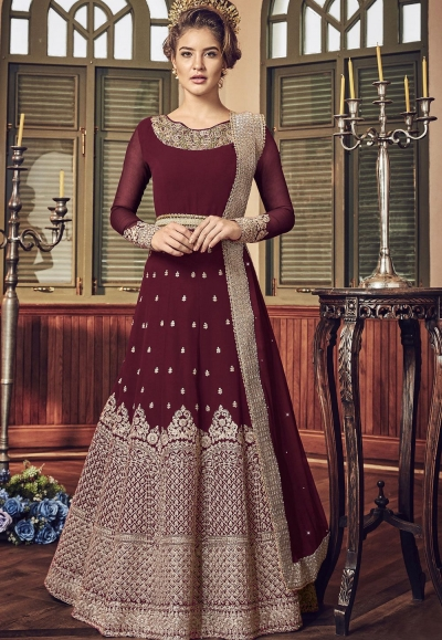 Maroon Georgette Floor Length Designer Anarkali Suit 5801B