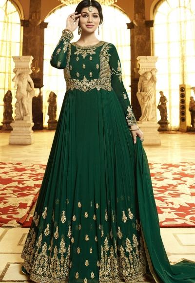 Ayesha Takia Green Georgette Anarkali Suit 22024