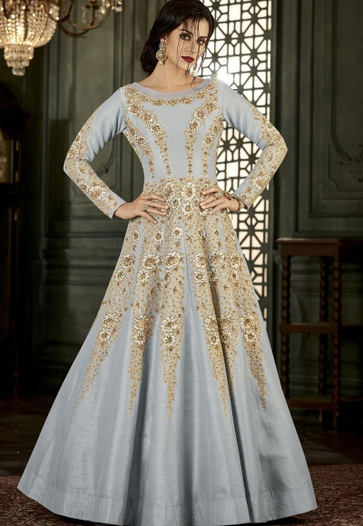 Grey Silk Long Embroidered Anarkali Suit 34001