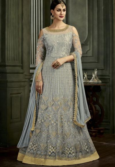 Grey Net Embroidered Floor Length Anarkali Suit 34003