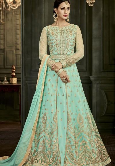 Aqua Soft Silk Floor Length Anarkali Suit 34004