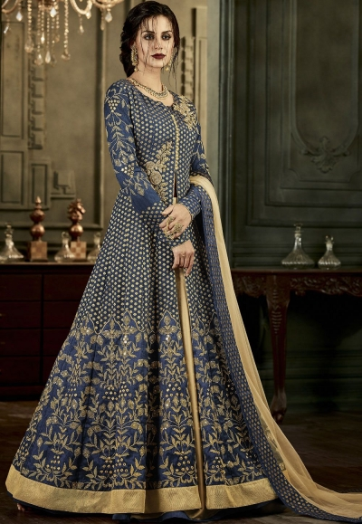 Blue Silk Lehenga Style Anarkali Suit 34005