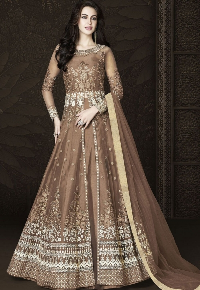 Brown Net Floor Length Embroidered Lehenga Anarkali Suit 6434
