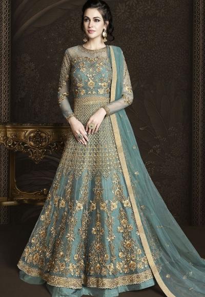 Blue Shade Net Embroidered Designer Lehenga Anarkali Suit 6433