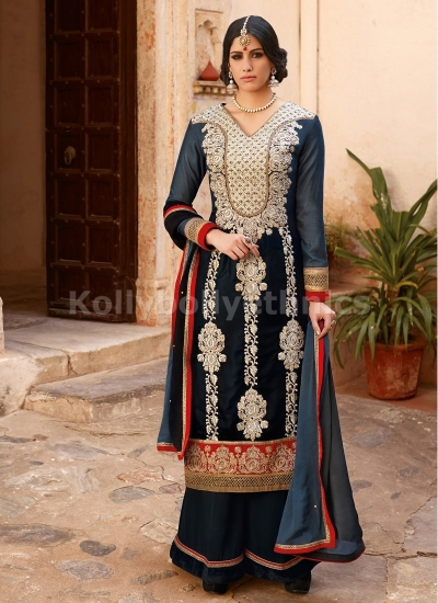 Baronial blue velvet pakistani suit