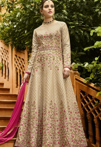 Beige Silk Embroidered Anarkali Suit 106
