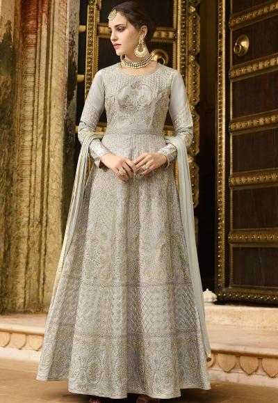 Dark Pink Silk Embroidered Anarkali Suit 102