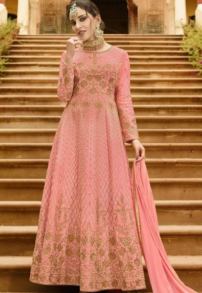 Pink Silk Embroidered Anarkali Suit 101