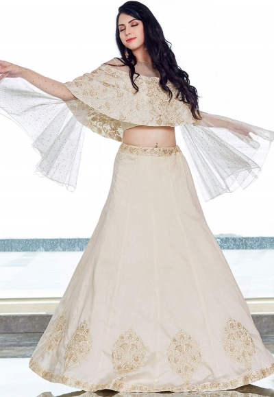 Off White Silk Lehenga Style Anarkali with Ponchu Sleeve 2508