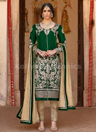 Astonishing green zari work pant suit