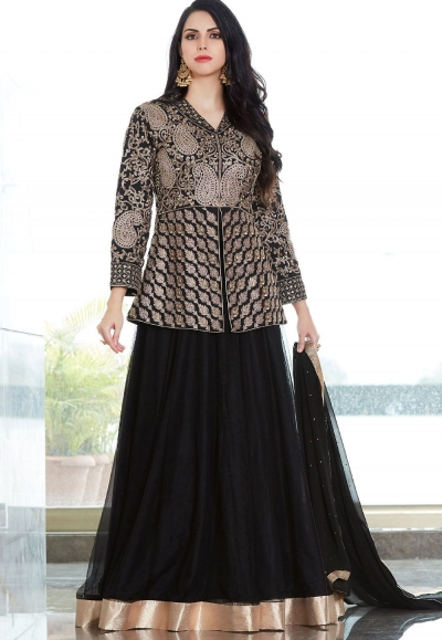 Black Net Long Jacket Embroidered Lehenga Style Suit 2504