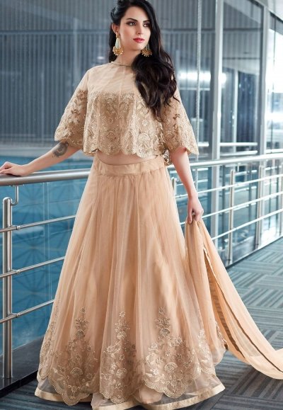 Beige Net Lehenga Style Anarkali with Ponchu Sleeve 2502