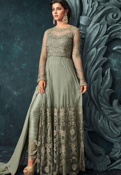 Green Net Trouser Style Anarkali Suit 1206