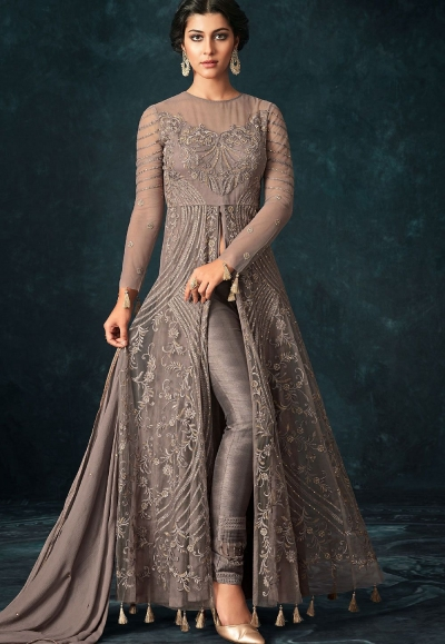 Grey Net Trouser Style Designer Suit 1205