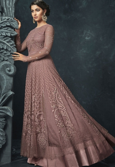 Pink Net Lehenga Style Designer Anarkali Suit 1204