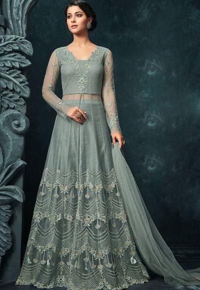 Sky Blue Net Lehenga Style Designer Suit 1203