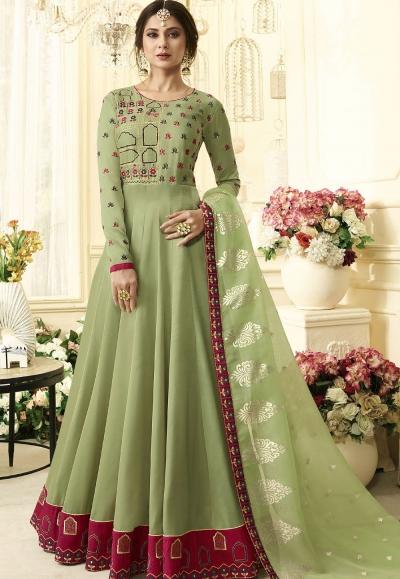 Jennifer Winget Green Silk Long Anarkali Suit 406