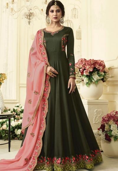 Jennifer Winget Dark Green Silk Floor Length Anarkali Suit 408
