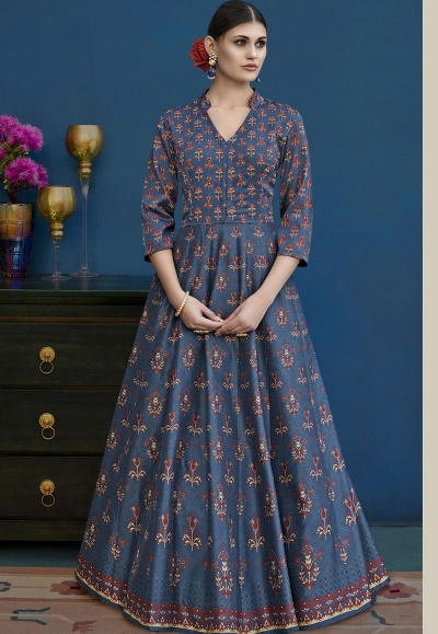 Blue Shade Silk Long Indowestern Style Suit 10129