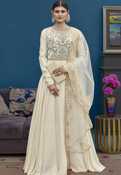 Off White Silk Floor Length Embroidered Indowestern Suit 10127
