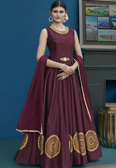 Wine Silk Long Embroidered Anarkali Suit 10126
