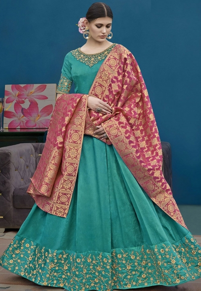 Blue Silk Floor Length Embroidered Anarkali Suit 10122