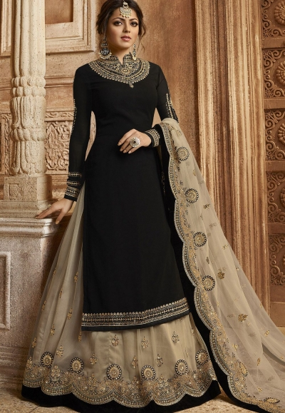 Black Satin Georgette Lehenga and Churidar Designer Suit 3007