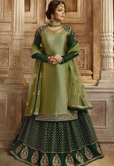 Green Satin Georgette Lehenga and Churidar Designer Suit 3001