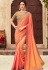 Peach Satin Georgette Party Wear Saree With Border 22010