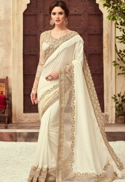 Off White Satin Georgette Party Wear Saree With Border 22009