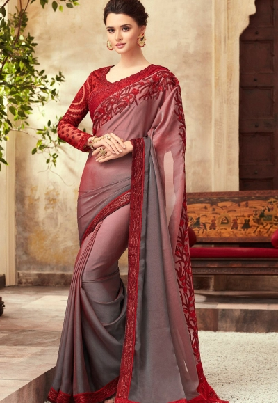 Maroon and Grey Satin Georgette Party Wear Saree With Border 22001
