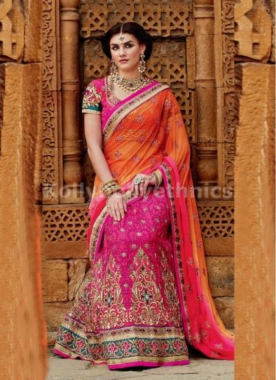 Brisk Hot Pink and Orange Net and Tussar Silk Wedding Lehenga Saree