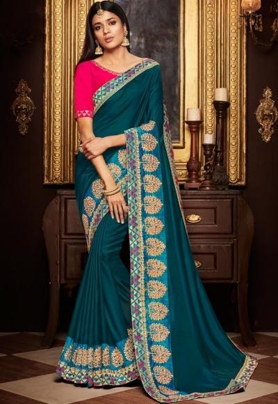 teal blue saree with silk blouse 1719