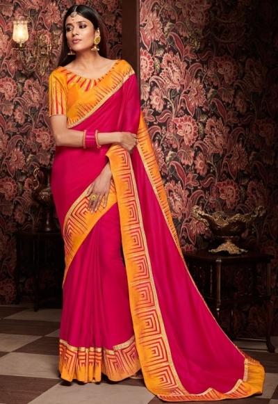 hot rani pink saree with silk blouse 1717