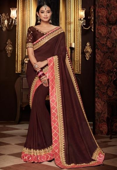 coffee brown saree with silk blouse 1716