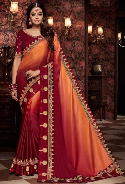 maroon and orange saree with silk blouse 1714
