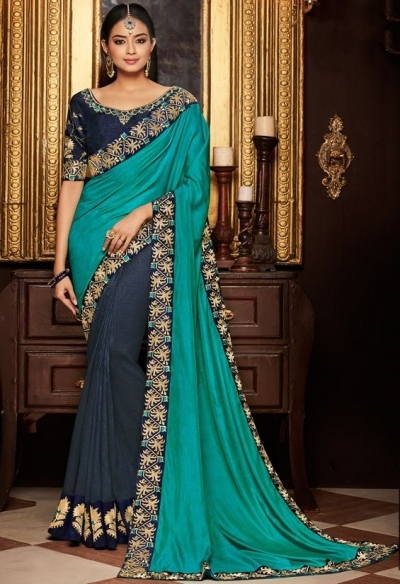midnight blue and firozi saree with silk blouse 1713