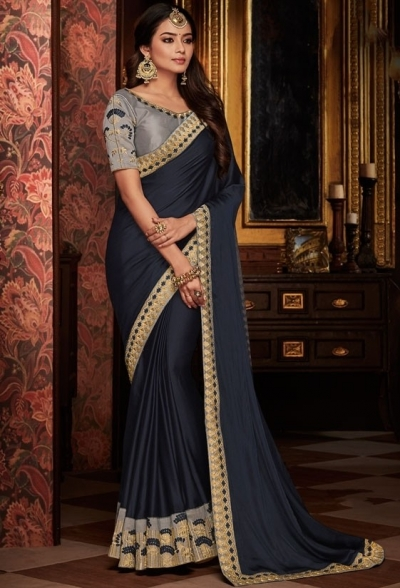 black saree with silk blouse 1712