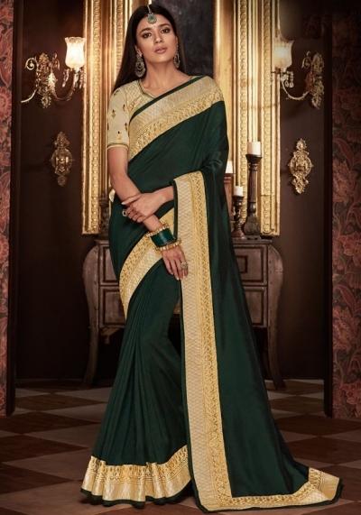 pine green saree with silk blouse 1710