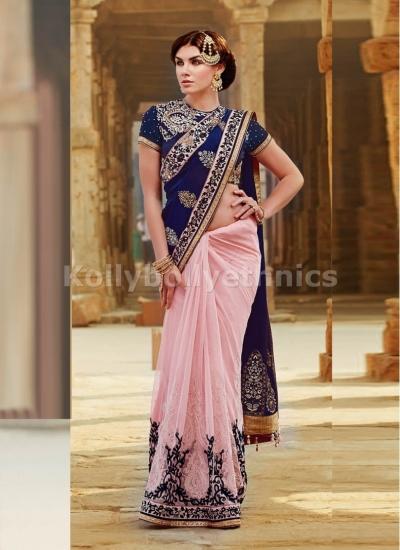 Net and Tussar Silk Navy Blue and Pink Designer Saree