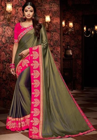 mehendi green saree with silk blouse 1709