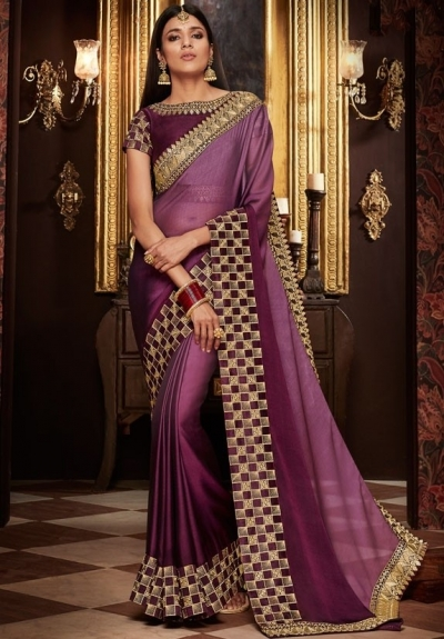 wine and mauve saree with silk blouse 1708