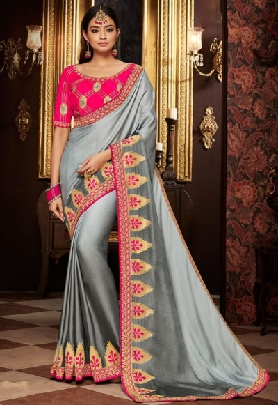 silver grey saree with silk blouse 1706