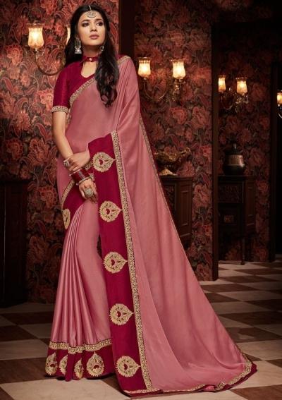 old rose saree with silk blouse 1705