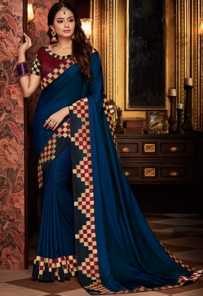 indigo blue saree with silk blouse 1703